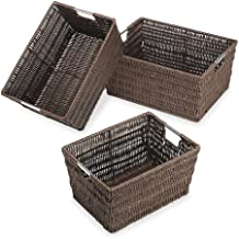 Whitmor Rattique Storage Baskets Set of 3 Java
