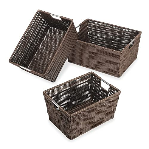Charmant Whitmor Rattique Storage Baskets   Java (3 Piece Set)