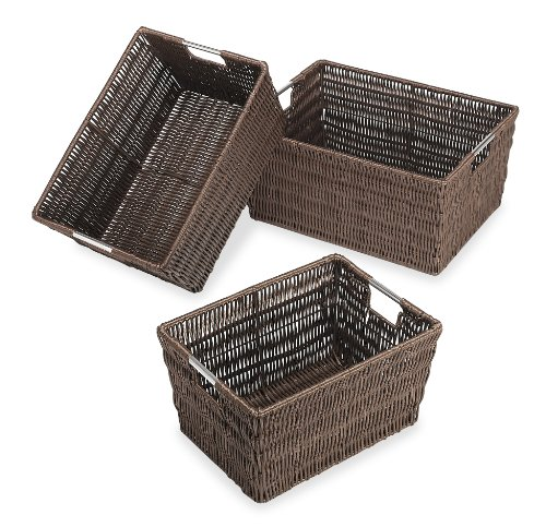 Whitmor Rattique Storage Baskets Java Set of 3 Pieces - 3 piece set of storage containers with built-in stainless steel handles for easy transport Great for clothing, bath & beauty products, toys, school supplies and more Perfect sized baskets to tuck away in closets, storage cubes or on a shelf for extra storage - living-room-decor, living-room, baskets-storage - 51F9ylbW1PL -