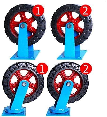 SSY-YU 4キャスターホイールヘビーデューティキャスタースイベル車輪ゴムキャスター家具表トロリーベッドベンチ、12インチキャスター(青) 旋盤アクセサリ 電動工具パーツ
