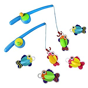 Bath Toys Fishing Game with Squirts Floating Fishes Pole Set Best Bathtub Tub Bathroom Water Toy Fun Bath Time Educational Toys Christmas Gift for Baby Girls Boys Toddlers Kids