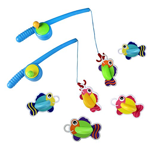 Bath Toys Fishing Game with Floating Fish Great Gift for Kids Boys Girls over 3 Years,2 sets(2 fishing rods and 6 fish),Random Delivery