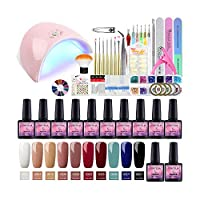 Fashion Zone 10 Color Gel Nail Polish Starter Kit with 36W LED UV Lamp, Base Top Coat Manicure Tools Sets for Home or Professional Salon