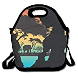 Africa Silhouette Cool Lunch Bag For Work Men And Women With Detachable Shoulder