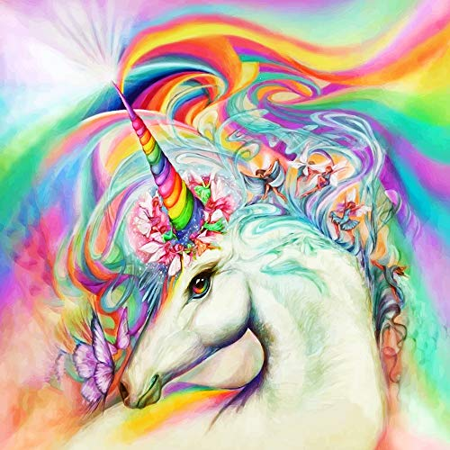 """(Diamond Painting Kits for Adults, 5D DIY Full Drill Crystal Embroidery Cross Stitch Arts Craft for Wall Decor, Rainbow Unicorn (15.7""""x15.7"""") )"""