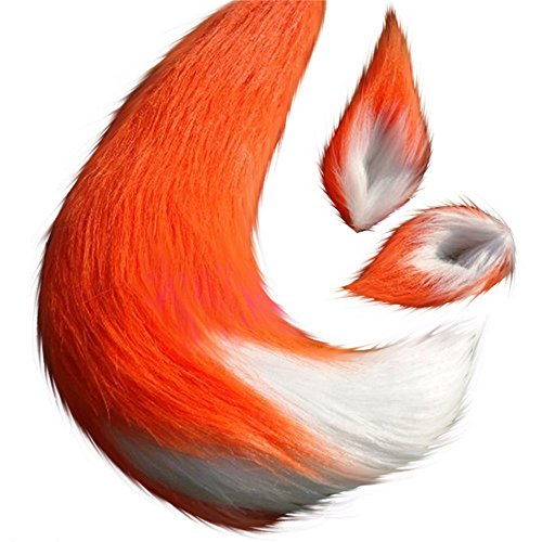 Anime Spice and Wolf Holo Kamisama Kiss Fox/Cat Plush Tail Ears Prop Cosplay (Orange)