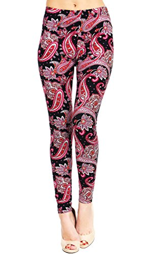 VIV Collection Printed Brushed Leggings (Pink Starry Night Paisley) (Collection Pink)