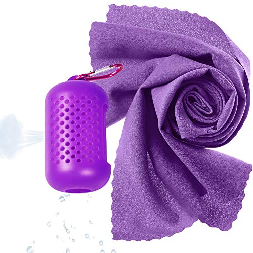 (Quick Dry Camp Towels, Fast Drying - Super Absorbent - Ultra Compact-Ultra Light, Cool Microfiber Towel with Silicone Case for Gym, Beach, Swimming, Backpacking, Traveling, Hiking, Yoga(Large, Purple))