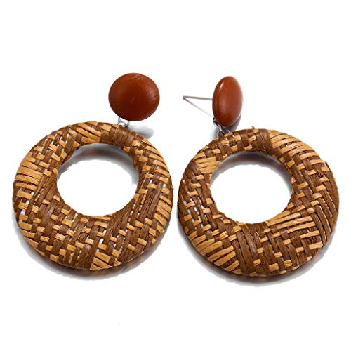 - HCDjgh dangle earings for women boho earings Bamboo Rattan Geometric Round mother Jewelry (Brown)