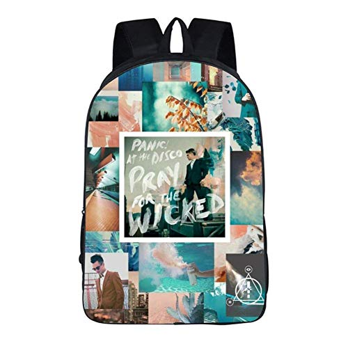 YSLD5Y5 School Book Bag Unisex Youth Backpack Shoulder 3D Panic at The Disco College Student Travel Laptop Backpack