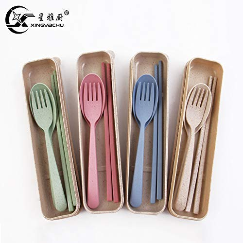 Eco-Friendly Wheat Straw Fork Chopsticks Spoon Tableware for Child Travel Camping Picnic or Just for Daily UsePackage included:3pcs tableware set Material:made of wheat straw.