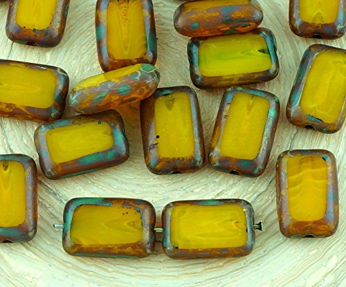 8pcs Picasso Brown Crystal Yellow Amber Opal Table Cut Flat Rectangle Czech Glass Beads 8mm x ()
