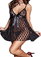 Moonight Women's Plus Size Sexy Polka Dots Baby Doll Lingerie Set