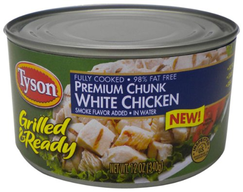 Tyson Foods Grilled And Ready Premium Chunk White Chicken  12 Ounce  Pack Of 6