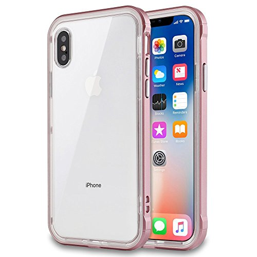 iPhone X Case, LOEV Reinforced Hard Frame [Crystal Clear] Hybrid Protective iPhone 10 Case, Shock Absorption & Impact Resistant Transparent TPU Bumper Cover for Apple iPhone X / 10 5.8 - Rose Gold
