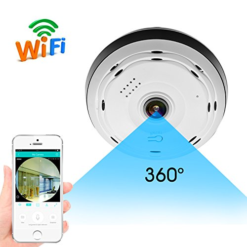 BESDER 360 Degree Panoramic Wifi Camera HD 960P Security Camera Baby Monitors Home Camera Pet Monitor Two Way Audio Video Camera Remote Viewing Night Vision Motion Detection VR Wireless Cameras 2.4GHZ