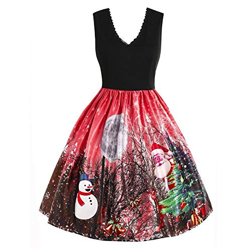 kaifongfu Sleeveless Christmas Dress Women Snow Xmas Print Vintage Flare Dress(Red,S) - Empire Pro Bottle Glove