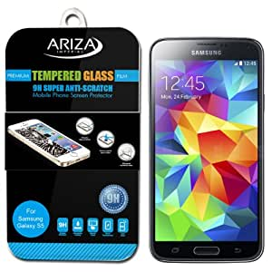 Ariza Imperial Samsung Galaxy S5 / Galaxy SV / Galaxy S V Tempered Glass Screen Protector - Premium Quality - Protect From Scratches - Ultra Thin - Hardness - 9H Film - Clear - Samsung Galaxy S5 Screen Protector [Pack of 1]