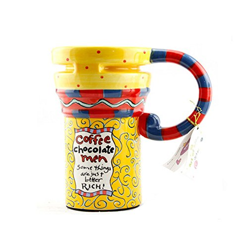 Painted Creative Mug Ceramic Cup Lid With Spoon, Large Capacity Cup, G