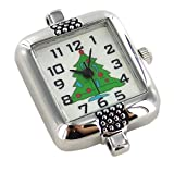 """Linpeng 2039-T Christmas Tree Watch Face, 1"""", Silver"""