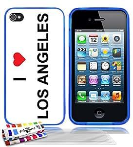 Carcasa flexible Ultrafina Azul Original de MUZZANO estampada I LOVE LOS ANGELES para APPLE IPHONE 4S + 3 películas de protección UltraClear para la pantalla