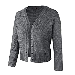 Women Button Down 3 4 Sleeve Knit Cropped Cardigans Crochet Sweater V Neck Ladies Short Bolero Cardigan Grey Xl