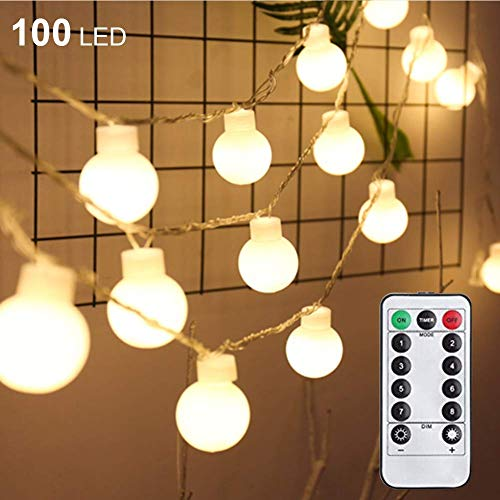 Twinkle Star 33 FT 100 LED String Lights, Waterproof Ball Lights, 8 Lighting Modes, Fairy Starry String Lights Plug in with Remote Timer for Home Party Wedding Christmas Decoration, Warm White