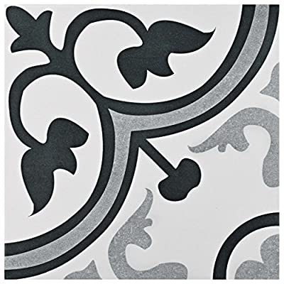"SomerTile FCG12AMB Canton Ceramic Floor and Wall Tile, 12.38"" x 12.38"""