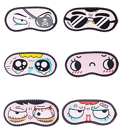 Flyusa Women Girls's Travel Lovely Cartoon Face Sleep Masks