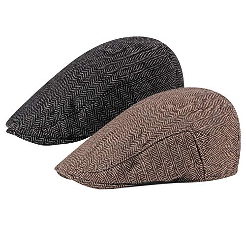 - Loritta 2 Pack Mens Flat Cap Herringbone Cotton Ivy Newsboy Hat