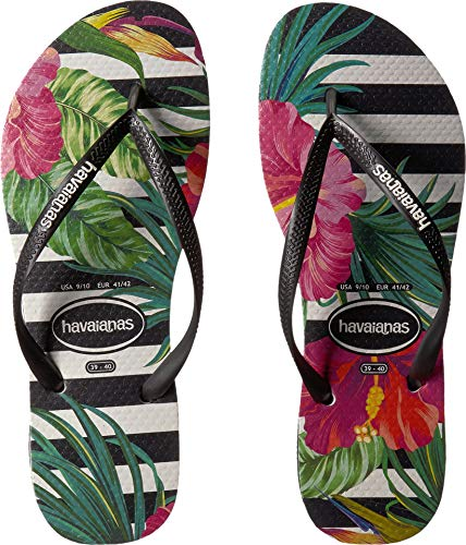 Havaianas Women's Slim Tropical Floral Sandal Black/White 39-40 M Bra M
