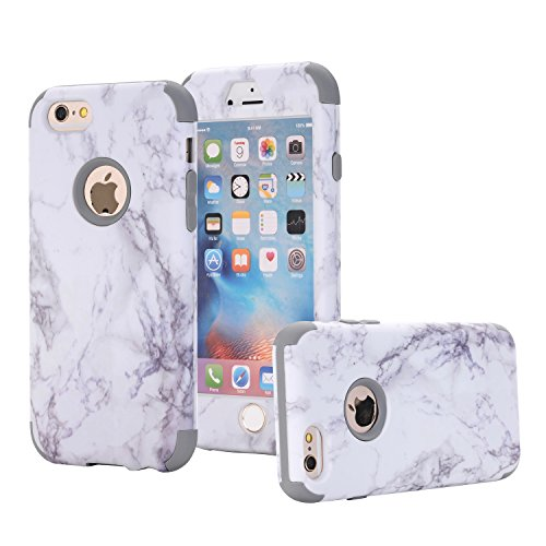 iPhone 6/6S Case, Asstar 3 In 1 Marble Creative Design Slim Flexible Soft Silicone Hard PC Shockproof Anti-Scratch Glossy Protective Cover Case for Apple iPhone 6/6s 4.7 inch (Grey)
