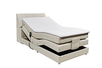 Boxspringbett 120x200 Elektrisch Verstellbar Mit Motor Bettkasten Farbe Creme Inkl Komfortschaum Topper Matratze 7 Zonen Tonnentaschenfederkern