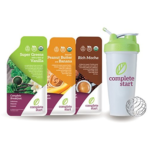 Complete Start - Vegan Instant Breakfast Shakes - Variety Pack of 9 Meal Replacement Shakes - 100% Organic - 3 of Each Delicious Flavor and Includes FREE Blender Bottle