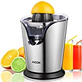 Aicok Electric Citrus Juicer Stainless Steel Orange Juicer Squeezer with 100W Ultra Quiet Motor and Anti-Drip Spout, Two Interchangeable Cones Work with All Size of Citrus Fruits