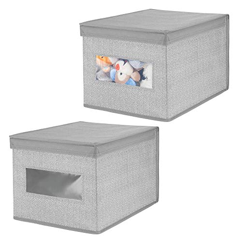 mDesign Decorative Soft Stackable Fabric Closet Storage Organizer Holder Box - Clear Window, Lid, for Child/Kids Room, Nursery - Large, Collapsible Foldable - Herringbone Print, 2 Pack - Gray