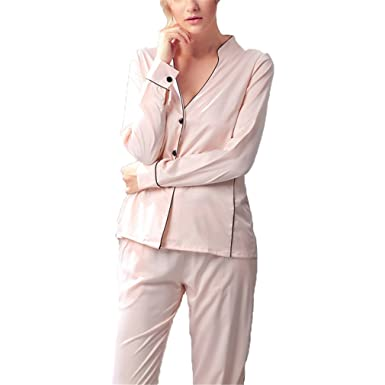 Pratnd Sexy Womens DeepHomewear Set Fashion Korean Style Fashionable Ladies Nightwear Pijamas Set Faux Champagne Set