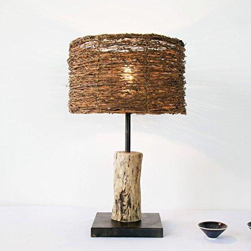 Village Simple Decoration Wooden Bedroom Study Wood Rattan Table Desk Bedside Lamp Light 300X530Mm,B by GAW Lighting Co.Ltd (Image #3)