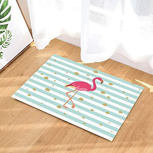 GoHeBe Tropical Animals Bath Rugs Pink Flamingo on Turquoise Striped with Gold Dots Non-Slip Doormat Floor Entryways Indoor Front Door Mat Kids Bath Mat 15.7x23.6in Bathroom Accessories