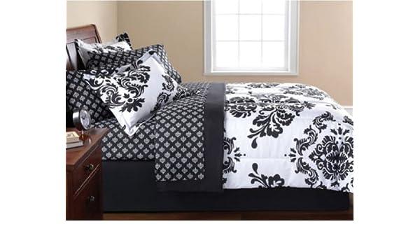 Amazon.com: Black & White Damask Twin XL Comforter & Sheet Set (7