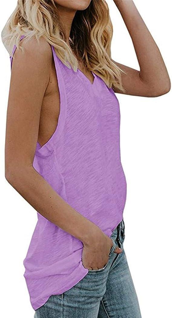 DressLksnf Camiseta de Mujer Casual Color Sólido Chaleco Sin Tirantes y Cuello en V Mangas Cortas Verano Suelto Fuera del Hombro Blusa Moda Delgada y Ligera Tops: Amazon.es: Ropa y accesorios