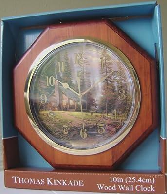 "Thomas Kinkade ""A Peaceful Retreat"" Hexagonal Wood Wall Clock (10"")"