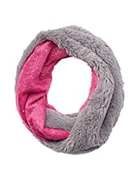 SO Girls Faux Fur Infinity Reversible Loop Scarf Sparkly Pink Gray One Size