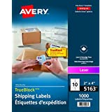 "Avery Shipping Labels with True Block for Laser Printers, 2"" x 4"", White, Rectangle, 1000 Labels, Permanent (5163) Made in Canada"