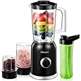 Decen Smoothie Blender, 4-in-1 Blender, Personal Blender, with 4 Titanium Blade & Tritan Bottles & Cups for Blending, Grinding, Mincing and Stirring, Black