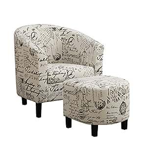 Amazon Com Emory Barrel Chair And Ottoman Living Room