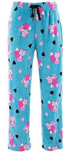 Sweet N Sassy Big Girls' Blue Fox Plush Pajama Pants 14-16