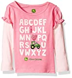 John Deere Girls' Love Tractors Tee, Medium Pink/Light Pink, 18 Months