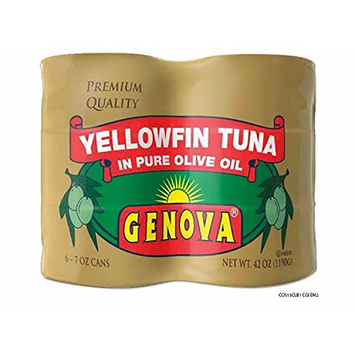 Genova Yellowfin Tuna in Pure Olive Oil, 7-Ounce (Pack of 6) (Tuna Genova)