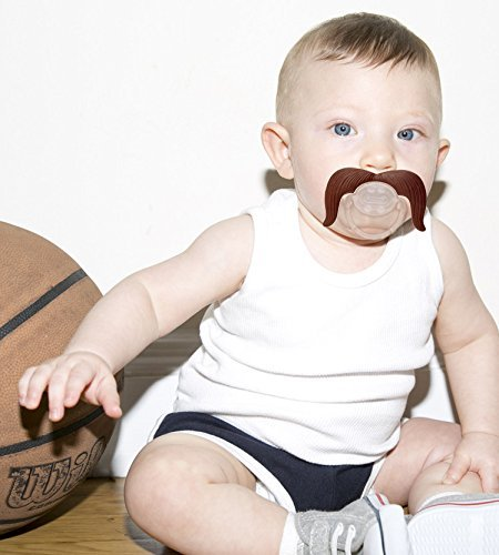 Baby Funny Pacifier Cute Kissable Mustache Pacifier For Babies and Toddlers Unisex BPA Free Latex Free made With Silicone Pack of 2